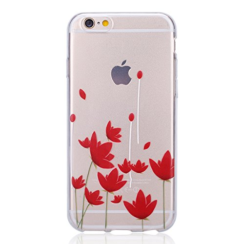 iPhone 6 Plus Hülle,iPhone 6s Plus TPU Gel Case Bumper,Ekakashop Bunte Transparent Comic Zwei Federn Muster Crystal Klar Flexible Case Silikon Defender Protective Schutzhülle Durchsichtig mit Niedlich Rote Lotus