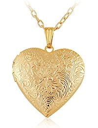 Via Mazzini 18K Gold Plated Hallmarked Heart Photo Locket Pendant for Women (NK0397)