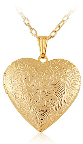 Via Mazzini 18K Gold Plated Hallmarked Heart Photo Locket Pendant for Women (NK0397)