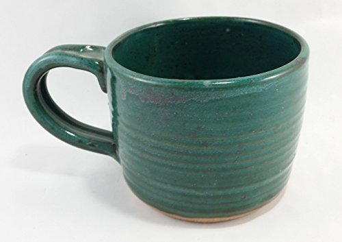Aunt Chris' Pottery - Hand Made Clay - Soup Bowl - With Handle - You Can Spoon It Out - Drink It Right Of The Bowl - Primitive Green Glazed by dist by American mud products Handmade Pottery Bowl