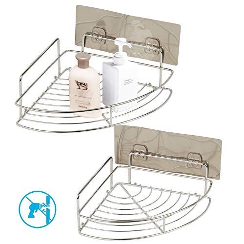 ZoomSky Duschkörbe Ecke Ablagen Ohne BohrenMetall Badregal Eckablage Duschablagenselbstklebend Badezimmer Wandablage für Shampoo (Dusche Eck-regal Aus Marmor)