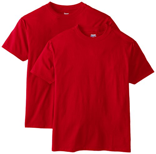 Hanes Men's Short Sleeve Beefy-T (Pack of 2), Deep Red, 4X-Large -