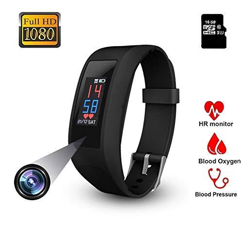 Fitness Armband Uhr Kamera,OLED Touchscreen Versteckte Kamera FHD Videoaufnahme Bracelet Frauen Pulsmesser Pulsuhr Schrittzähler Sportuhr für Android, iOS und Bluetooth -32GB