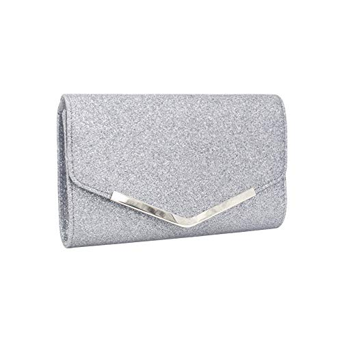 Produp Fashion Damen Handtasche Solide Glänzende Cocktail Party Tasche Kette Telefon Abendtasche