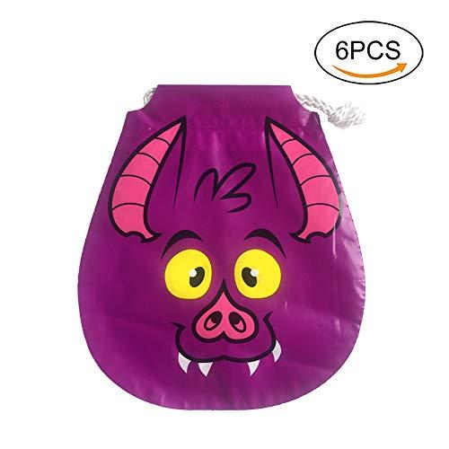 Lumanuby 6X Gamelt Tier Süßigkeiten Tasche mit Kordelzug für Halloween PE Verpackung Tüte für Treat Oder Trick Size 20.5cm*18cm (Wildschwein)