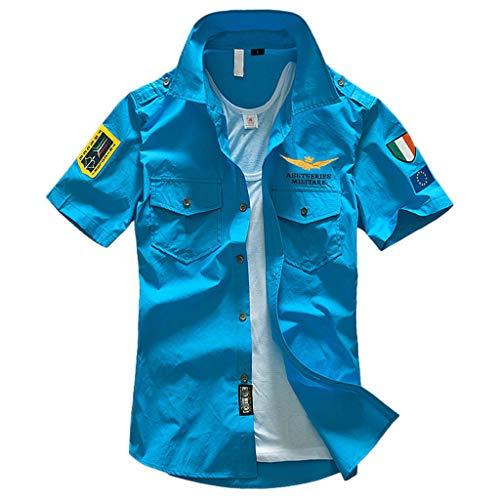 Xmiral T-Shirt Uomo Semplice Tee Maglietta da Uomo Tee T-Shirt Uomo Stretch Slim T-Shirt Uomo T-Shirt Maglietta Uomo Casual Camicia T-Shirt Uomo Sportivi Vintage Stretch L Azzurro