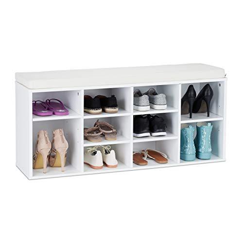 Relaxdays mobiletto per scarpe, scarpiera e panca, massiccio, 10 scomparti, legno, hlp 48,5 x 103,5 x 29,5 cm, bianco