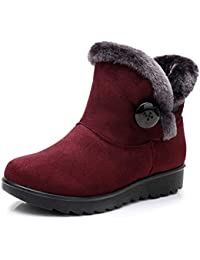 0471700edb0d Oliviavan Damen Schnee Stiefel Flach Wolle Plus samt warme Schneeschuhe  Kurze Stiefel Baumwolle Schuhe Winterstiefel Schlupfstiefel