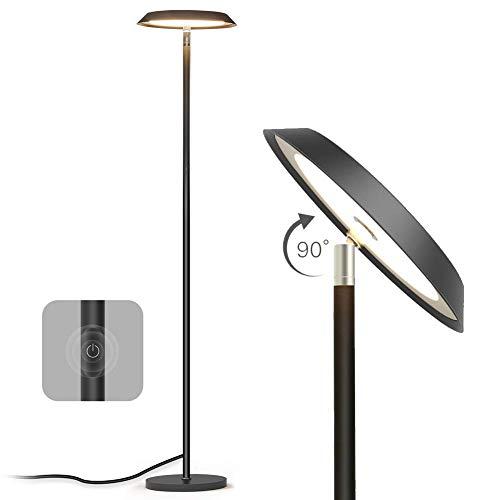 TECKIN LED Stehlampe, Moderne Dimmbare Stehleuchte, 3000K Warmes wei?es Licht Kann fur Arbeit, Lesen, Lernen Verwendet 20W Schwarz [Energieklasse A+]