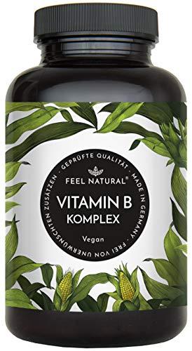 Vitamin B Komplex Kapseln. Besonders hochdosiert (10x). 180 vegane Kapseln im 6 Monatsvorrat. Mit bio-aktiven Vitamin B-Formen. Ohne Zusätze. Hergestellt in Deutschland -