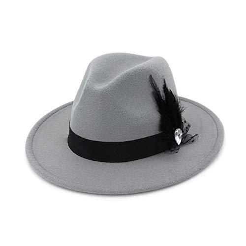 Frauen Hut Breite Flache Krempe Wollfilz Jazz Hut Woll Western Cowboy Hut Floppy Hut Feder Bühne Party Hut Hut (Farbe : ()