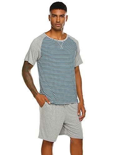 Grau Gestreift Kurz (Pyjama Herren Kurz Schlafanzug Kurzarm Gestreiftes Jugend Schlafanzüge Zweiteiliger Anzug mit Top Streifen Hemd und Unifarbe Hosen für Sommer Grau M)