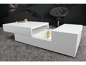 Table basse design Vegas laqué blanc