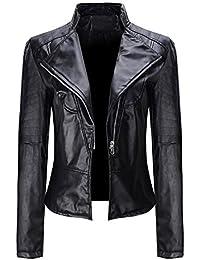 Snowbuff Giacca Classica da Donna in Pelle Abbigliamento Blazer con Zip  Cardigan Corto Aperto a Maniche 989d64e82b8
