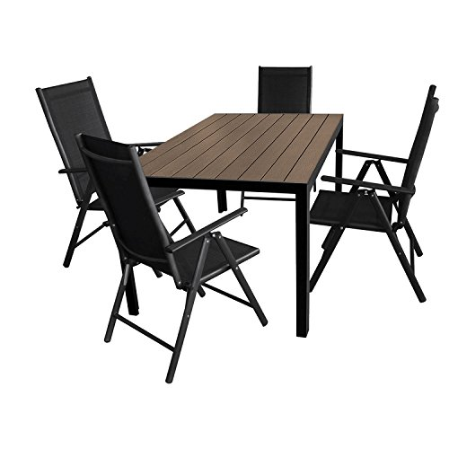 Multistore 2002 5tlg. Gartengarnitur Aluminium Gartentisch 150x90cm mit Polywood Tischplatte Hochlehner mit 2x2 Textilenbespannung 7-Pos. verstellbar