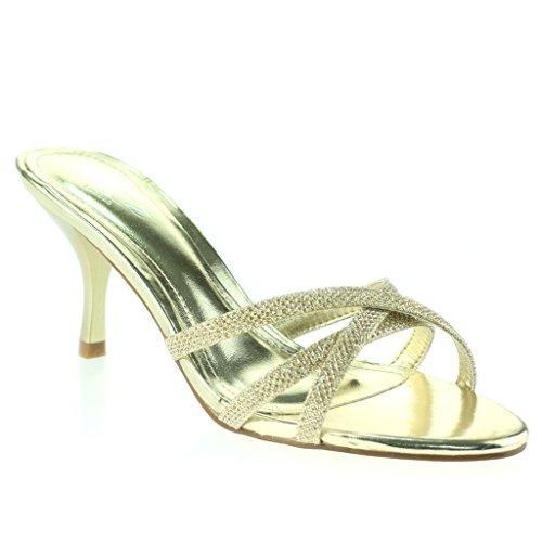 Femmes Dames Crossover à Lanières Enfiler Svelte Talon Moyen Soir Fête Mariage Bal de Promo Des Sandales Chaussures Taille Or