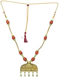 Jewel Hevean Orange And Golden Pendant Necklace Set For Women