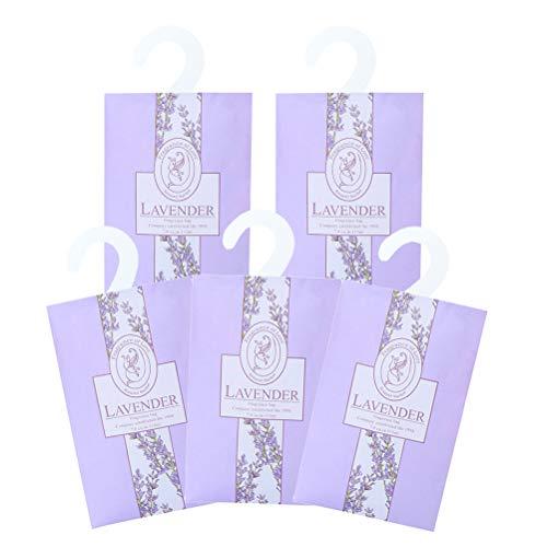 Lavendel-duftende Schublade (GARNECK 5 Stück Lavendel duftende Beutel Tasche lila Lufterfrischer für Schubladen Schränke und Autos schönen frischen Duft)