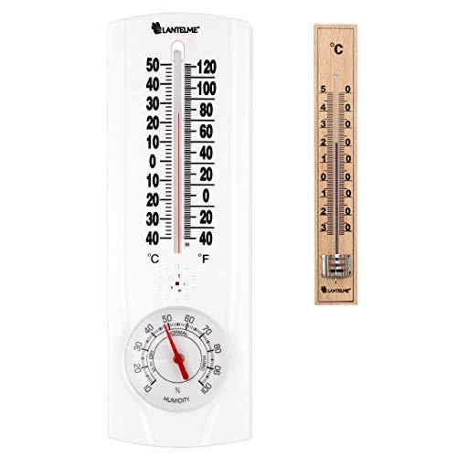 Lantelme Garten Kombi Thermometer Hygrometer Holz Innenthermometer Außen Luftfeuchte Analog 6681