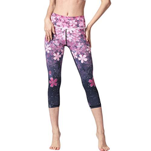 Huacat Frauen Blume Druck Yoga Hose hohe Taille Hüfte Stretch Leggins Laufen Fitness-Yoga-Kleidung (Behindern, Kleidung Baby)