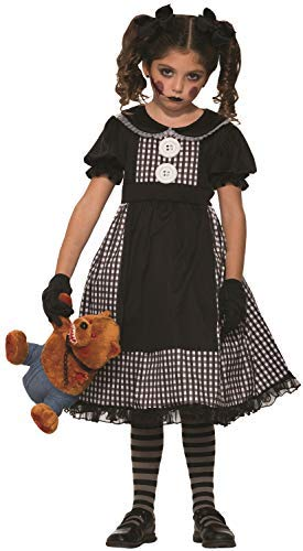 Kostüm Doll Rag Kids - Girls Dark Possessed Rag Doll Creepy Killer Child Halloween Horror Fancy Dress Costume Outfit (7-9 years)