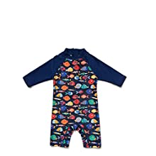 Baby Boys Sunsuit UPF 50+ Sun Protection One Pieces with Zipper Swimwear with Sun Hat(Colorful Fish,3-6Months)