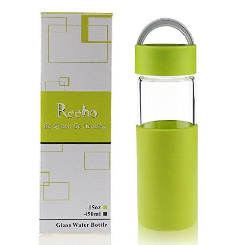 Reeho Sportflasche Trinkflasche aus Glas, BPA-frei Wasserflasche Glas, Borosilikat Glasflasche Mit Silikonhülle (Grün, 450ml)