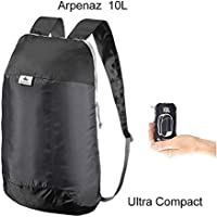 QUECHUA Ultra Compact Collapsible 10 Litre Small Hiking Backpack / Rucksack for Camping Outdoors Festivals - Handy Travel Bag