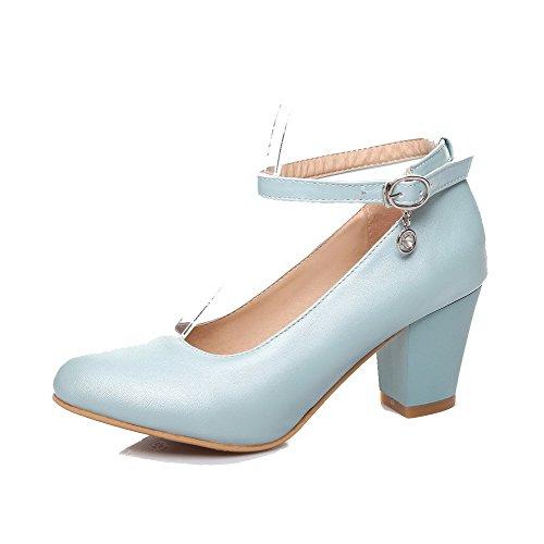 AgooLar Femme Matière Souple Boucle Rond à Talon Correct Couleur Unie Chaussures Légeres Bleu