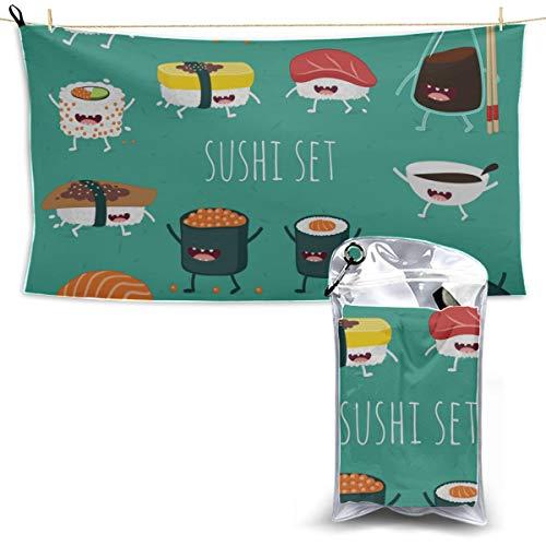 LMFshop Japanische köstliche Sushi-Nahrungsmittelmikrofaser-Tücher für das Reise-Wandern Microfaser-Tuch-Reise-Yoga-Tuch Dünnes Reise-Tuch 27,5