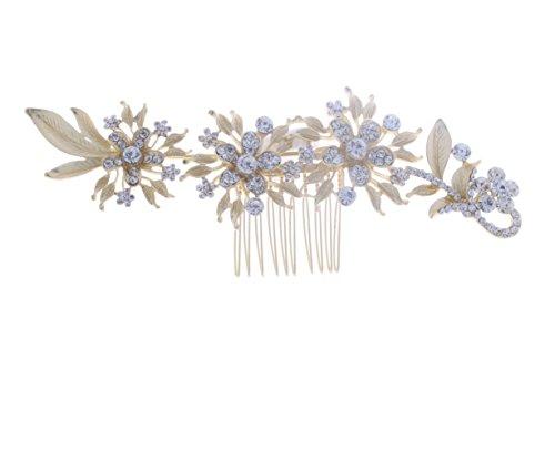 Kimmyku - Peineta, accesorio de pelo, color dorado, con flores, vintage, para novia