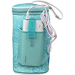 Bolsa térmica para biberón, bolsa de calentador de biberones portátil con USB de calefacción, bolsa de botella para viajes al aire libre (batería externa no incluida)
