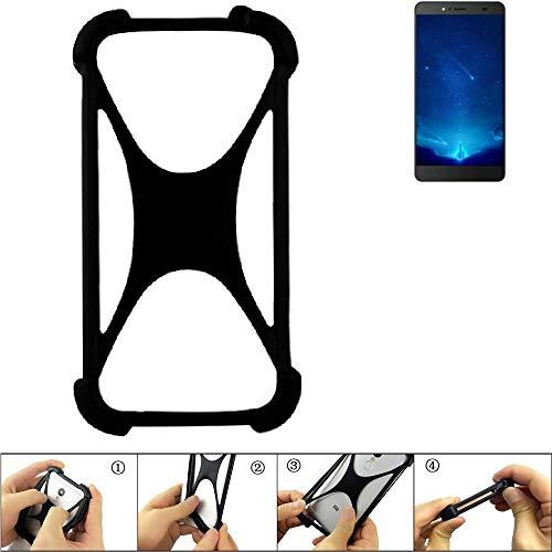 K-S-Trade Handyhülle für Bluboo Maya Max Schutz Hülle Silikon Bumper Cover Case Silikoncase TPU Softcase Schutzhülle Smartphone Stoßschutz, schwarz (1x)