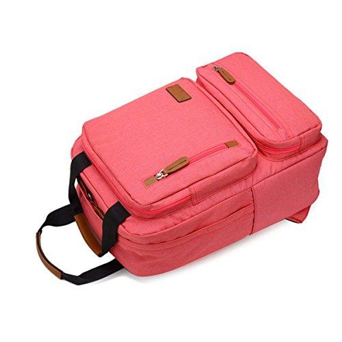 Großer Kapazität Rucksack Männer Und Frauen Einfache Computertasche Freizeit-Rucksack Collegetasche,DarkBlue Pink
