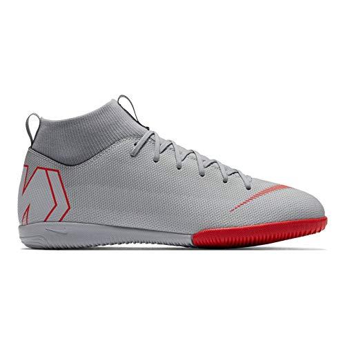 Nike Unisex-Kinder Mercurial SuperflyX VI Academy Indoor Fußballschuhe, grau/rot, 34 EU