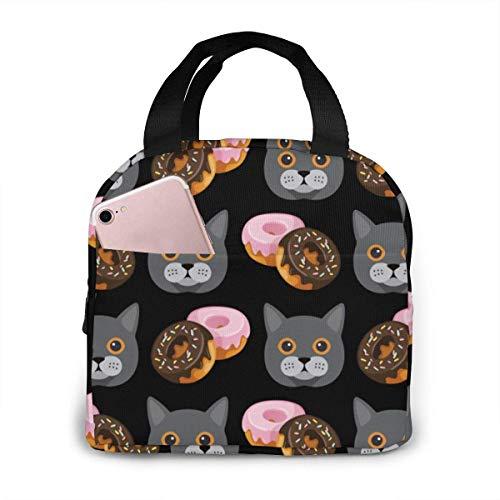 Elsaone Britisch Kurzhaar Donuts Wasserbeständige tragbare Lunchpaket Picknick im Freien Reise Modische Handtasche 21 x 20 cm / 8,3 x 7,9 Zoll