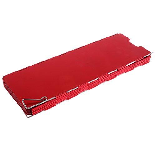 Sharplace Faltbar Aluminium Windschutz, für Campingkocher, Gaskocher Camping Wandern Picknick - Rot 10 Lamellen