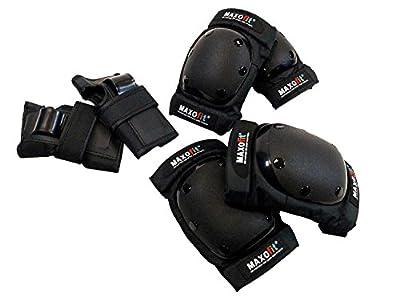 """MAXOfit® 6-teiliges Protektoren-Set """"M"""" für Hände, Arme und Knie mit schwarzer Kappe, 66382"""