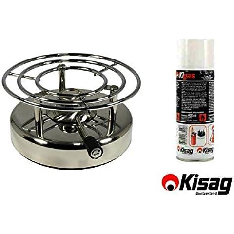 Kisag–LongFire scaldavivande a gas in acciaio inox 1,4kW & cartuccia Kigas 400ml