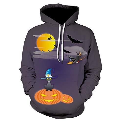 xiaozhao Kapuzenpullover Halloween-Kostüme 3D-Digitaldruck Hut Pullover Große Größe Baseball-Anzug Violet XXXL