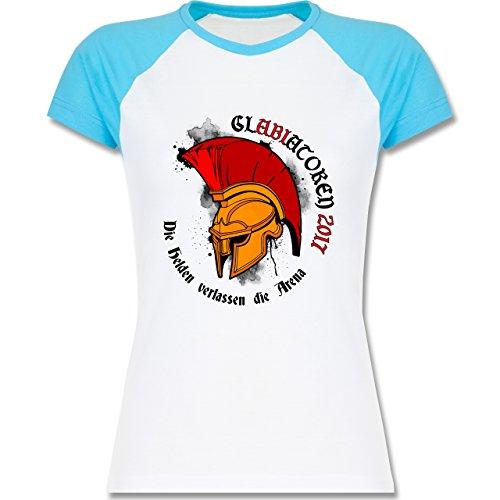 Abi & Abschluss - GlABIatoren 2017 - Die Helden verlassen die Arena - zweifarbiges Baseballshirt / Raglan T-Shirt für Damen Weiß/Türkis
