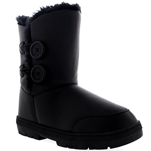 Damen Schuhe Twin Knopf Fell Schnee Regen Stiefel Winter fur Boots - Schwarz Leder Gr.-42, BLL42 AEA0271