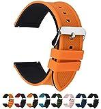 Fullmosa 18mm 20mm 22mm 24mm Bracelet Montre en Silicone Souple, 8 Couleurs Rainbow Bracelet de Montre Caoutchouc de Silicone à Libération Rapide, 24mm Orange Citrouille Dessus/Noir Dessous