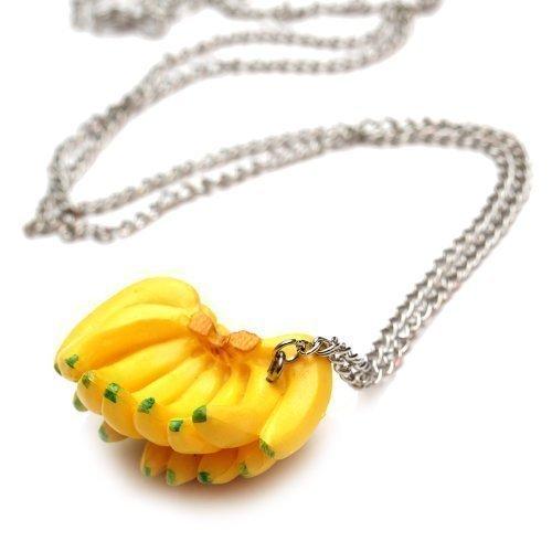 Bananen Staude Halskette - ca. 70cm lange Kette - Obst Anhänger Banane Party