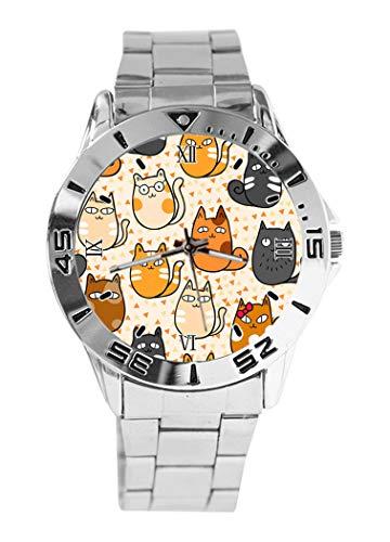 Analoge Armbanduhr mit lustigem Kätzchen-Design, Quarz, silberfarbenes Zifferblatt, klassisches Edelstahlband für Damen und Herren - Lustige Kätzchen