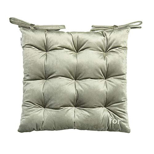 WEDZB Kissen, Stuhl Sitzkissen mit Krawatten Quadrat Dickes Kissen Perlmutt Baumwollfüllung für Esszimmer Wohnzimmer Bürostuhl 38x38 cm, Hellgrün, 38x38 cm