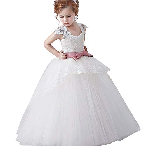 NNJXD Madchen Armellos Stickerei Prinzessin Festzug Kleider Abschlussball Ballkleid, #1 Weiß, 9-10 Jahre / Herstellergröße: 150