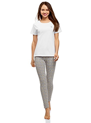 oodji Ultra Femme Pyjama en Coton avec Legging, Gris, FR 42 / L