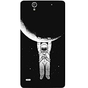 Casotec Hanging On Moon Design Hard Back Case Cover for Sony Xperia C4