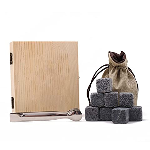 UPERE Premium Whiskey Stones Whisky Chilling Rocks Ice Cube Stones Gift Set 9 with Clip and Gift